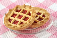 Tartlet with cherry jam Royalty Free Stock Images