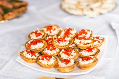 Tartlet  with cream and caviar Royalty Free Stock Photography