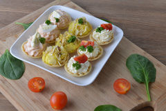 Tartlet with cream Stock Photo