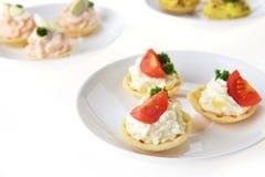 Tartlet with cream Stock Photos