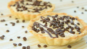 Tartlet with custard and chocolate stock video