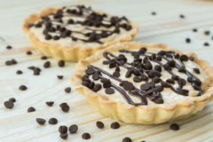 Tartlet with custard and chocolate Royalty Free Stock Photography