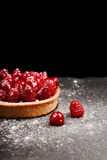Tartlet with custard and fresh raspberries. Tartlet with custard, fresh glazed aspberries and sieving sugar powder, served on vintage stone surface. Dark rustic Stock Photography