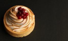 Tartlet del limón con crema y arándanos rojos Foto de archivo libre de regalías