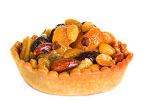 Tartlet with dried fruit, cake isolated on white Stock Image