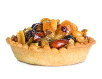 Tartlet with dried fruit, cake isolated on white Royalty Free Stock Images