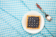 Tartlet with fresh blueberries Stock Photo