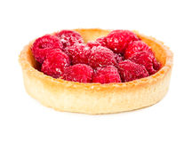 Tartlet with fresh raspberries. Isolated on white background Royalty Free Stock Image