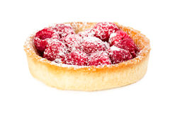 Tartlet with fresh raspberries and powdered sugar Royalty Free Stock Photo