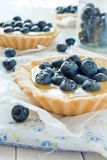 Tartlet with lemon curd and blueberry Royalty Free Stock Photo