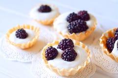 Tartlet med kräm nya dewberries Söt bärsommardesse arkivfoto