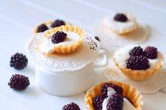 Tartlet med kräm nya dewberries Söt bärsommardesse royaltyfri bild