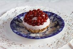 Tartlet met quark en lingonberry Royalty-vrije Stock Afbeelding