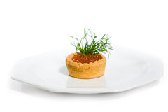 Tartlet with red Caviar Stock Photos