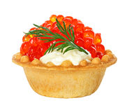 Tartlet with red caviar isolated on white Stock Photography