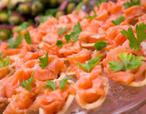 Tartlet  with salmon Royalty Free Stock Photos