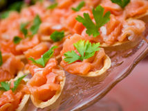 Tartlet  with salmon   . Shallow depth-of-field Royalty Free Stock Image