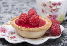 Tartlet of Shortcrust pastry with raspberry jelly Stock Images