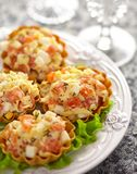 Tartlet stuffed with salmon salad Royalty Free Stock Photo