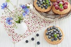 Tartlets βακκινίων και σμέουρων Στοκ Εικόνες