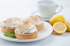 Tartlets λεμονιών με τη μαρέγκα στο εκλεκτής ποιότητας άσπρα πιάτο και το φλυτζάνι του τσαγιού στον πίνακα πετρών Νόστιμος μεταχε στοκ φωτογραφίες