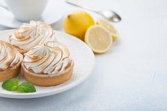 Tartlets λεμονιών με τη μαρέγκα στο εκλεκτής ποιότητας άσπρα πιάτο και το φλυτζάνι του τσαγιού στον πίνακα πετρών Νόστιμος μεταχε στοκ εικόνα