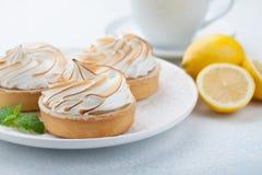 Tartlets λεμονιών με τη μαρέγκα στο εκλεκτής ποιότητας άσπρα πιάτο και το φλυτζάνι του τσαγιού στον πίνακα πετρών Νόστιμος μεταχε στοκ εικόνες