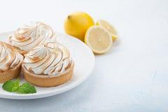 Tartlets λεμονιών με τη μαρέγκα στο εκλεκτής ποιότητας άσπρο πιάτο στον πίνακα πετρών Νόστιμος μεταχειριστείτε σε ένα ανοικτό μπλ στοκ φωτογραφίες με δικαίωμα ελεύθερης χρήσης
