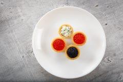 Tartlets заполнили с красным и черным салатом икры и сыра и укропа на белой плите против серебряной деревянной предпосылки Стоковые Изображения