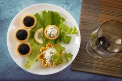 Tartlets заполнили с красным и черным салатом икры и сыра и укропа на белой плите против голубой деревянной предпосылки Стоковые Изображения RF