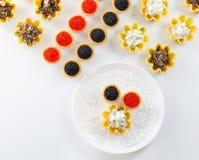 Tartlets заполнили с салатом сыра и укропа и икрой и плитой с tartlets против белой предпосылки Стоковое Фото