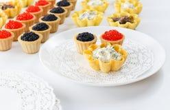 Tartlets заполнили с салатом сыра и укропа и икрой и плитой с tartlets против белой предпосылки Стоковые Изображения