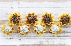 Tartlets заполнили с салатом сыра и укропа и салатом морской водоросли против деревенской деревянной предпосылки Стоковое фото RF