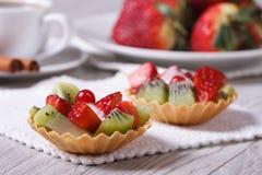 Tartlets плодоовощ с клубниками и крупным планом кивиа Стоковое Изображение RF