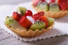 2 tartlets плодоовощ с клубниками, кивиом Стоковое Изображение RF