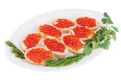 Tartlets с красной икрой на плите изолированной на белой предпосылке. Стоковое Изображение RF