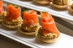 Tartlets с овощами и посоленными семгами стоковое изображение