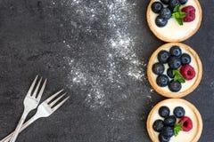 Tartlets с полениками и голубиками на предпосылке шифера стоковая фотография