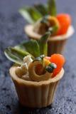 Tartlets с сыром семг и сыра с микро-зеленым на темной предпосылке Стоковое фото RF
