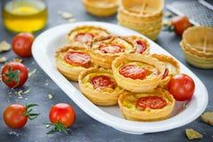 Tartlets томата сыра, мини-пиццы с сыром и toma вишни Стоковое Изображение