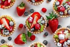 Tartlets ягоды с голубиками, полениками, кивиом, клубниками, миндалиной шелушатся в сахаре замороженности Стоковые Фотографии RF