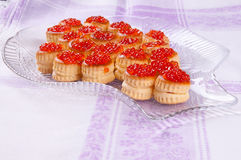 Tartlets. Delicious tartlets with red caviar Royalty Free Stock Photos
