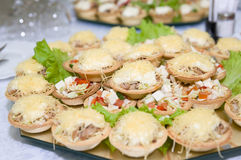Tartlets with appetizer Stock Photo