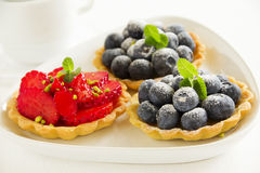 Tartlets with berries Royalty Free Stock Photography
