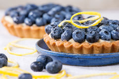 Tartlets with blueberries Royalty Free Stock Images