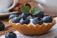 Tartlets with blueberries and cream closeup horizontal Royalty Free Stock Image