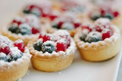 Tartlets with blueberries and raspberry. Small tarts with fruits. Tartlets with blueberries and raspberry. Small tarts with fruits Royalty Free Stock Images