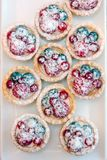 Tartlets with blueberries and raspberry. Small tarts with fruits. Tartlets with blueberries and raspberry. Small tarts with fruits Royalty Free Stock Photos