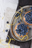 Tartlets with blueberries Stock Photography