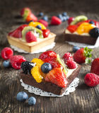 Tartlets with chantilly cream and berries Royalty Free Stock Photography